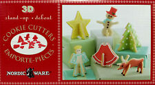New NORDIC WARE 3D Christmas Cookie Cutter Set,Stand-up Rudolph, Angel,Star,Tree