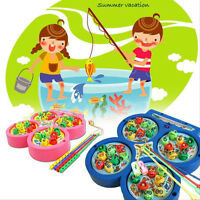 Electric Rotating Magnet Fish Fishing Pretend Game Children Educational Toy MO