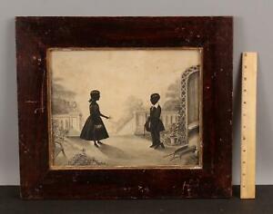 Antique 1830s Folk Art Garden & Silhouette Portrait Watercolor Ink Painting