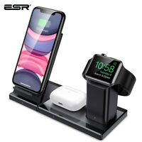 ESR 3 In 1 Qi Wireless Charger Stand 10W Fast for Apple Watch iPhone for AirPods