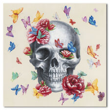 Canvas Skull Butterfly Colorful Painting Print Wall Art Hanging BIG 80x80cm