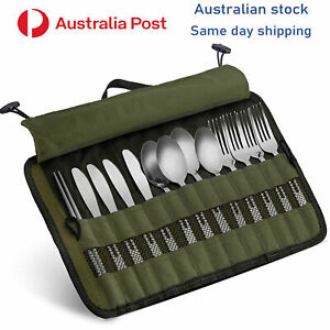 Camping cutlery 13pc set portable fold up carry pack stainless steel outdoor