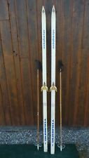 """VINTAGE Wooden 82"""" Skis Has WHITE Finish Signed OLYMPIQUE + Bamboo Poles"""
