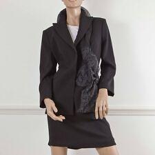 CHRISTIAN DIOR BOUTIQUE Black Wool Jacket & Skirt Suit Silk Detailing UK14 FR42