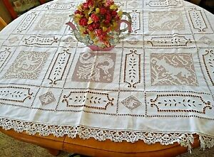 ANTIQUE H M LINEN CLOTH~EMBROIDERY~FILET LACE PANELS~MYTHICAL BEASTS~CLUNY LACE