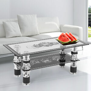 Glass Coffee Tables with Shelf Rectangle Modern Contemporary For Living Room