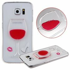 For Samsung Galaxy S6 - Clear Red Wine Glass TPU Rubber Silicone Skin Case Cover