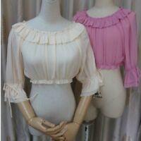 Lady Lolita Flare Ruffled Top Blouse Peplum Shirt Tee Puff Sleeve Kawaii Elegant