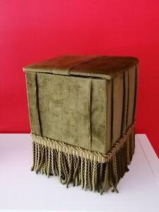 Pouf Coffre Vintage En Velours A Passementerie Déco Kitsh 70's Pop Green
