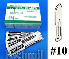 100 New Sterile #10 Stainless Steel Scalpel Blades Sealed Scalpels Blade *UK*