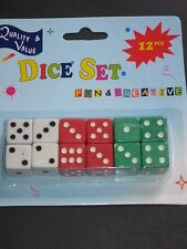 Dice Set 12Pk, GREEN,WHITE,RED- Great fun 4 kids,Teachers, Preschool,Maths Games
