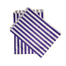 "100 SMALL Blue & WHITE STRIPE PAPER BAGS SIZE 5 X 7"" CANDY SWEET GIFT Pick n Mix"