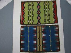 "Tobacco Felts 2 Vintage Native American Navajo Indian Rug Design 8"" X 5 1/2"""