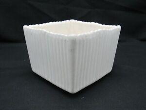 SHAWNEE Terrace Ceramics PLANTER Creamy Satin-White Square Fluted Vintage USA