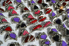 Wholesale Lots Mixed 50Pcs Heart CZ Rhinestone Silver Plated Woman Rings