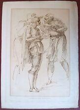Eau-forte début 19ème, Etudes de personnages, William Long, d'après Michel-Ange