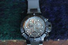 New Invicta Men's 15144 Subaqua Chronograph Black Dial Watch Grey Strap Swiss