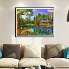 lake cabin 5D Diamond DIY Embroidery Painting Cross Stitch Craft Home Decor BH