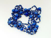 "Vintage 55"" Art Deco Blue Venetian Glass Wire Necklace Flapper Length"
