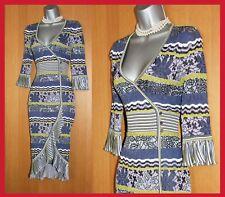 KAREN MILLEN Wrap Stretch Crochet Lace Stripe Knit Cocktail Dress sz 1  UK 8/10