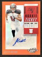 2018 Panini Contenders Optic Justin Watson Rookie Orange Prizm Auto SP 41/49