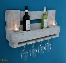 BOTELLERO PARA VINO palets Muebles Estante de Pared Madera rural Shabby blanco