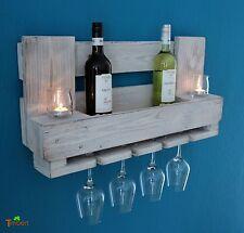 WEINREGAL EURO-PALETTEN Möbel Wandregal Holz Flaschenregal Ländlich Shabby Weiß