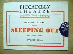 Piccadilly Theatre Programme- SLEEPING OUT by Walter Ellis