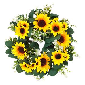Artificial Spring Summer Sunflowers Wreath Garland Front Door Home Decor