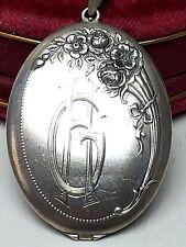 """XXL großes 800 Silber Foto-Medaillon Jugendstil um 1900 - Monogramm """"HG"""" - A510"""