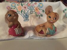 "Cute Vintage Pendelfin Rolly Figurine Rabbits (one is ""PieFace"" )Made in England"