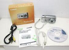 Canon PowerShot A470 7.1MP Digital Camera Silver Bundle + Original box, Tested