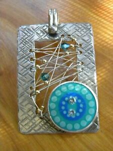 TMARRA DESIGNS STERLING SILVER EYECATCHING WOVEN PENDANT 2-1/4""