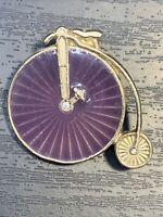 Vintage Pin Brooch Gold Tone Purple enamel Rhinestone velocipede Bike Bicycle