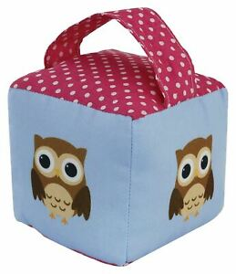 Owl Heavy Door Stopper Sand Filled Weighted Cube Fabric Doorstop