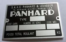 Plaque constructeur PANHARD - PANHARD vin plate - PANHARD typenschild