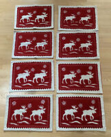 VINTAGE STYLE WOOL Moose CHRISTMAS Holiday WINTER SET OF 8 PLACEMATS