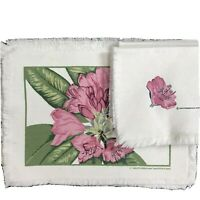 Vintage Smithsonian Rhododendron 5 Placemats 4 Napkins Pink Flower Cloth