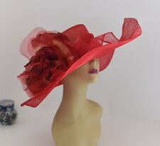 Kentucky Derby, Church, Wedding Silk Flower Sinamay Wide Dress Hat 509 (Red)