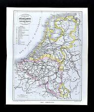 1877 Vuillemin Map - Netherlands - Holland Belgium Amsterdam Brussels Rotterdam