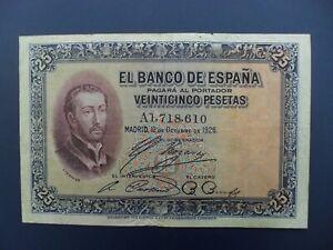 1926 SPAIN 25 PESETAS BANKNOTE VF