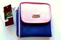 Compact Ladies womens genuine JEEP zip around purse wallet black pink or Navy