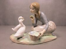 Lladro Food for Ducks Girl Feeding Ducks  4849  Retired