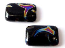 20 (mm) BLACK WITH METALLIC PRINT CZECH GLASS RECTANGULAR BEADS - (4PCS) - B059