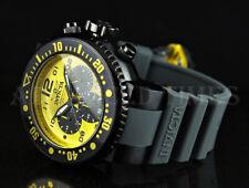Invicta 52mm Pro Diver Chronograph YELLOW Dial Black IP Case Grey Strap Watch