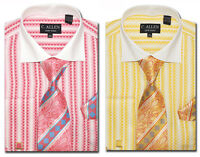 C. Allen Dress shirts Tie Combo French cuff Checked Striped Pattern Gold Coral