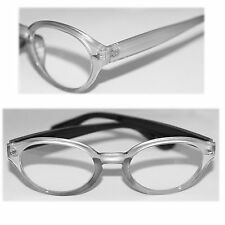 Reading Glasses Chunky Funky Geek Euro Readers Big Silver Statement Frame +2.50