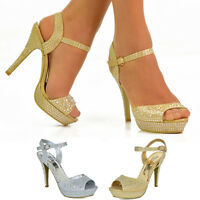 Ladies High Heel Sandals Diamante Ankle Strap Peep Toe Evening Party Prom Shoes