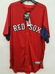 1409 Mens Majestic BOSTON RED SOX PLUS SIZE Baseball Button Down JERSEY RED New
