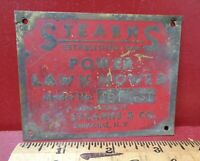 VINTAGE E.C. STEARNS LAWN MOWER INFORMATION NAME PLATE STEAMPUNK